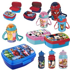 Nouveau-Sandwich-Lunch-Box-amp-Sports-Bouteille-Fiole-Disney-Marvel-Paw-Patrol-Peppa
