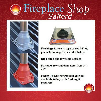Roof Flashings seals for wood burning flues on tiled, flat & corrugated roofs.