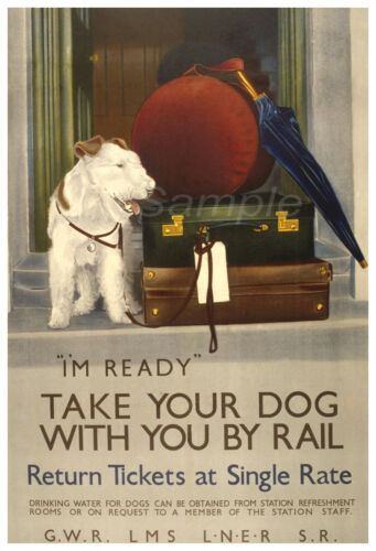 DR02 VINTAGE BRITISH RAILWAYS TAKE YOUR DOG BY RAIL A4 POSTER PRINT
