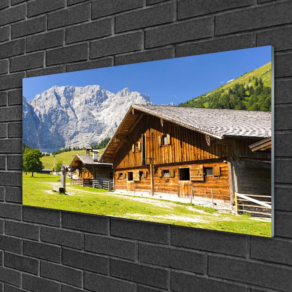 Tableau sur verre Image Impression 100x50 Paysage Maison Montagnes