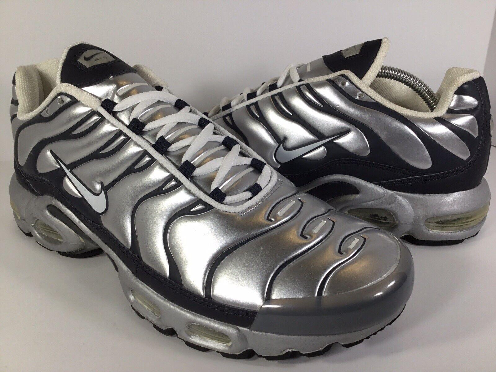 Nike Air Max Plus 1 Extra Metallic Silver Obsidian Black Size 12 Rare 302746-011