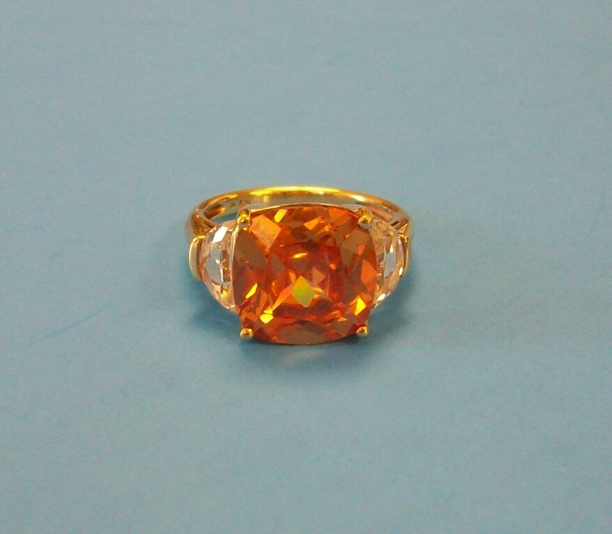 Ladies Cushion Shape Amber color Man Made Gemstone Ring - 10K Yellow gold