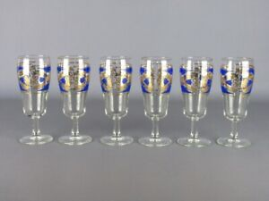 Vintage-Service-6-Glasses-Glass-Decoration-Baroque-Blue-amp-Gold