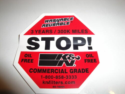 K&N Filters Do Not Discard Commercial Warning Decal!!!