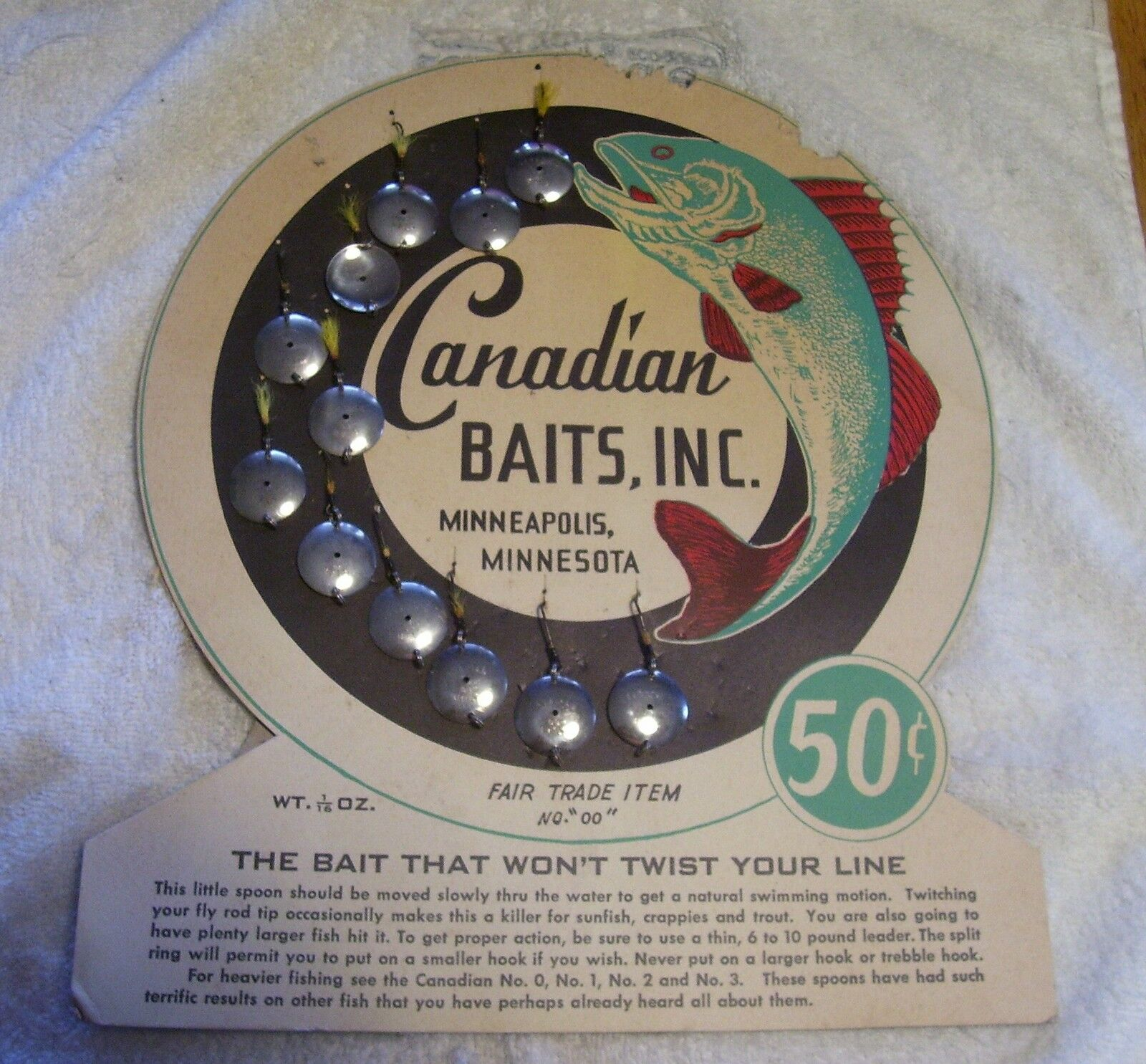 CANADIAN  BAIT SPOON DEALER DISPLAY LURE  ITEM  free shipping on all orders