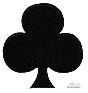 BLACK-CLUBS-iron-on-embroidered-PATCH-PLAYING-CARD-SUIT-APPLIQUE-GAMBLING-POKER