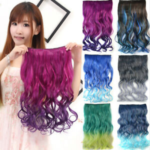 20-034-Ombre-Long-Curly-Wave-Hairpiece-Weft-Synthetic-Clip-In-Hair-Extensions-Weave