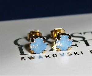 e31dfd139545 Gold Plated Air Blue Opal Stud Earrings made with Swarovski Crystal ...