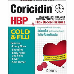 Coricidin HBP Tablets Cold and Flu - 10 ct, Pack of 5