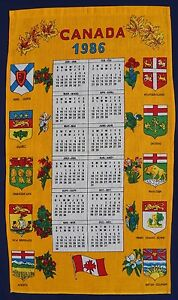 1986-Calendar-Vintage-Retro-Unused-PURE-LINEN-Tea-Towel-CANADA-Flowers-Souvenir