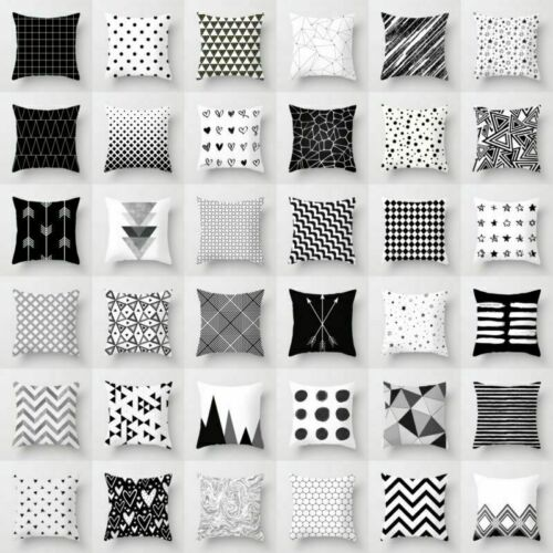 Geometric Cushion Cover Black And White Polyester Throw Square Pillow Cases 18/'/'