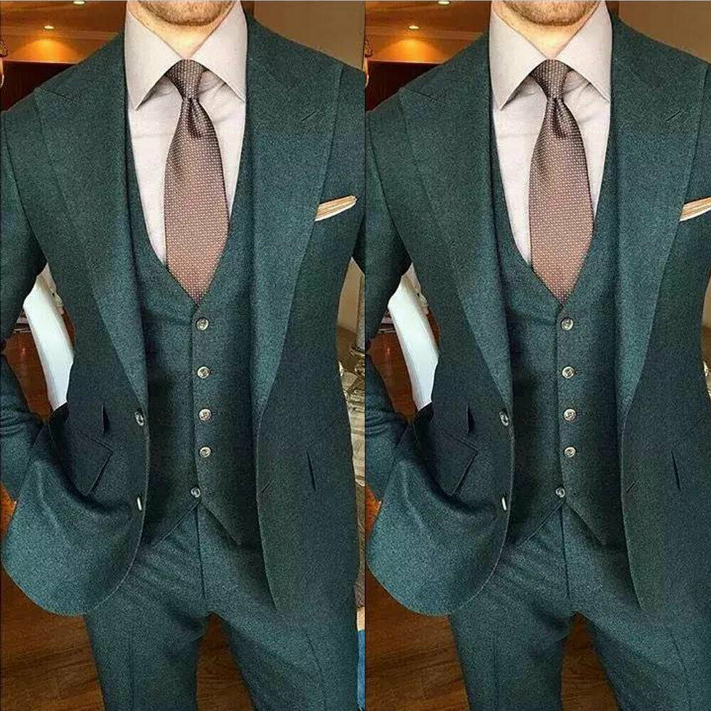 Men's Olive Green Wool Suits Slim Fit Formal Party Business Wedding Tuxedos