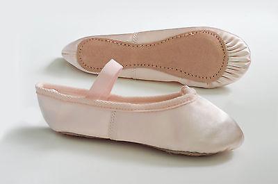 Rosa de Satén zapatos de ballet con pre cosida elástico. los Niños Talle 5 ~ Adultos 8