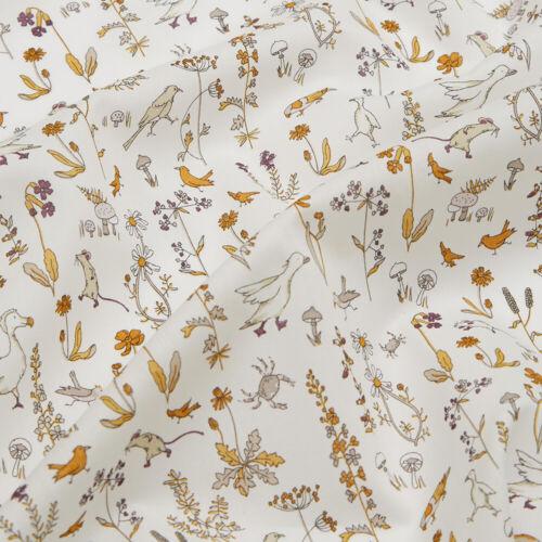 Liberty Theo Tana Lawn Tissu//Quilting Motif Floral Rose Betsy bleu jaune Nursery