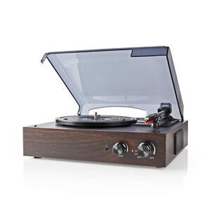 Nedis-3-Speed-Retro-1970-039-s-Vinyl-LP-Record-Player-33-1-3-45-78-RPM-MP3-Converter