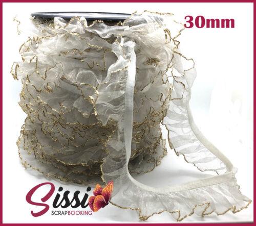 1M ruban galon dentelle blanc bord doré tulle gaz de ruche organza robe costume