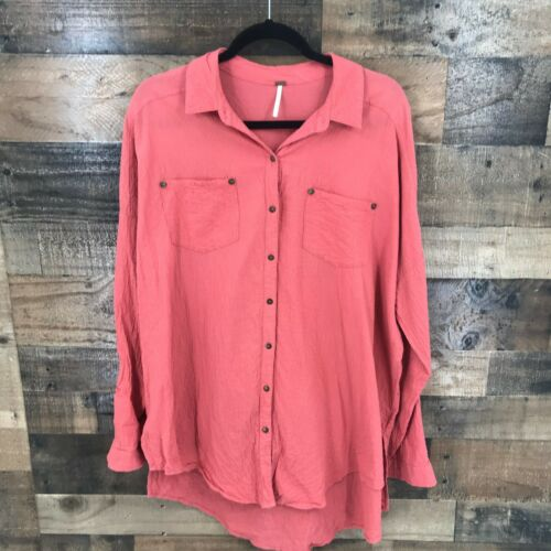 Free People Women's Oversized Coral Crepe Button F
