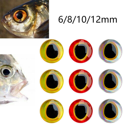100X 3D-Holographic Fishing Lure Eyes Set For Fly Tying Stickers 6//8//10//12mm