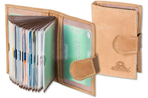 Woodland-Kreditkartenetui-aus-Leder-in-Hellbraun-mit-flexibler-Aussenlasche