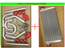 3' INTERCOOLER+TURBO U PIPING KIT RED COUPLER + CLAMPS TURBOCHARGER SUPERCHARGER