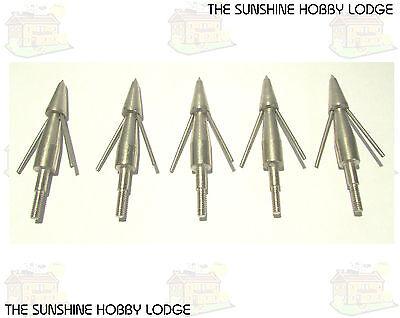 Pack of 6 silver Broadheads Crossbow Arrow Head Tips Bolts 100 grn