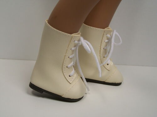 """Debs CREAM Lace Up Boots Doll Shoes Fits 16/"""" 17/"""" Sasha"""