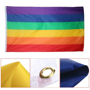 Rainbow-Peace-Flag-5-x-3-FT-100-Polyester-With-Eyelets-Banner-Gay-Pride-UKPL