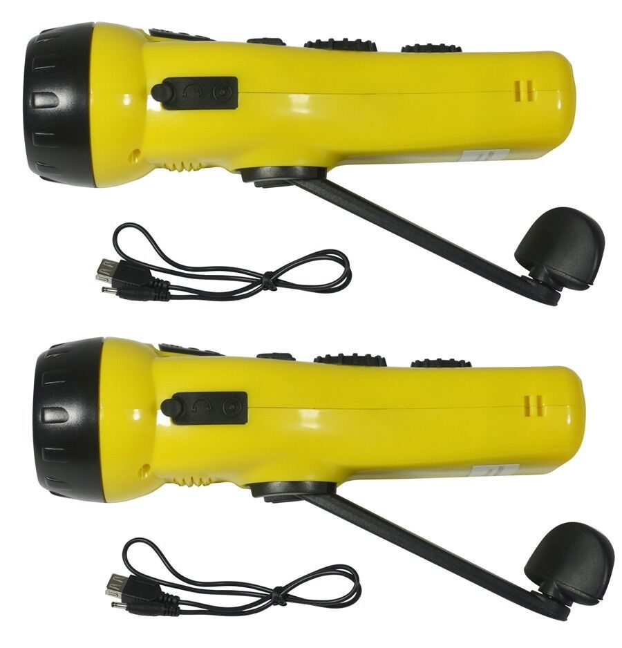 2)Survival Emergency Hand Crank Dynamo 3-LED Flashlight AM FM Radio USB Charger