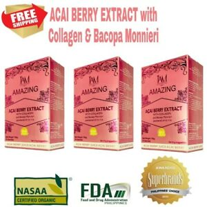 Amazing Acai Berry Extract With Collagen And bacopa Monnieri FDA APPROVED 3pack