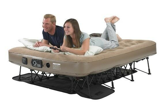 Queen Size Air Mattress Raised Frame Stand Off Camping Guest Bed