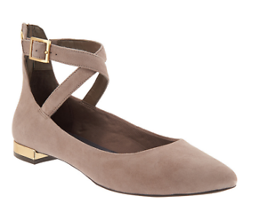 Rockport Total Motion Suede Pointed Toe Flats Taupe Adelyn Women's Size 8.5 New