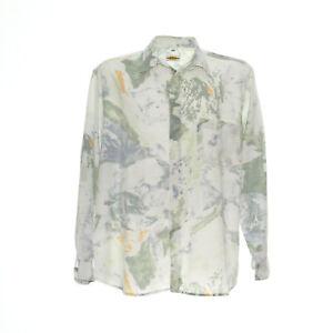 Herren-Vintage-Hemd-Langarm-Groesse-XL-Freizeit-Shirt-Aquarell-Muster-Print-Retro