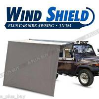 3x3m Tough Car Side Cabin Awning & Wind Shield Extend Camping 4wd 4x4 Pull Out