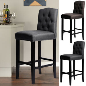 Fantastic Details About Grey Brown Fabric Kitchen Stool Breakfast Bar Counter Chair Button Tufted Uk Dailytribune Chair Design For Home Dailytribuneorg