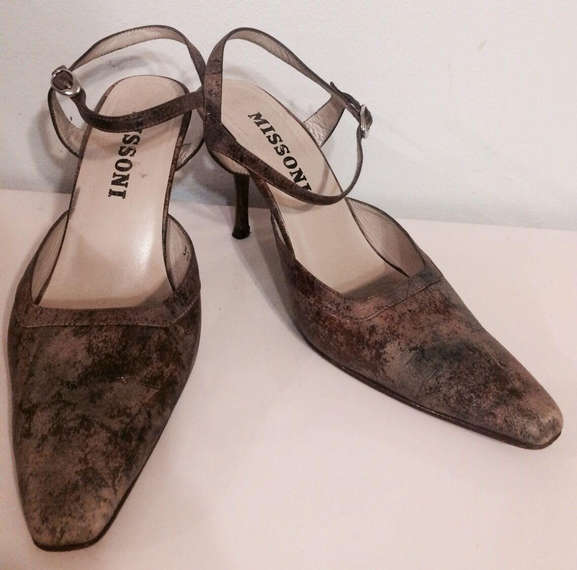 Missoni Slingbacks Sandale Ankle Strap Heel 3'' Schuhes Braun Leder Sz 36