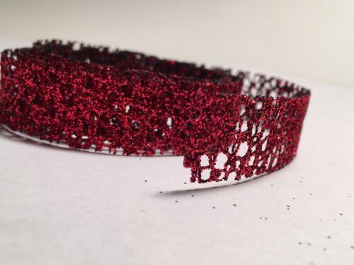 "1 Yard Corsage Ribbon 5//8"" Glittered Red Metallic Ribbon Sold By The Yard"