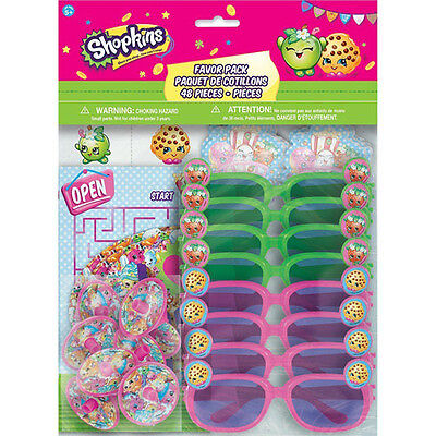 48pc SHOPKINS FAVOR PACK ~ Birthday Party Supplies Toys Kooky Cookie Spin Tops