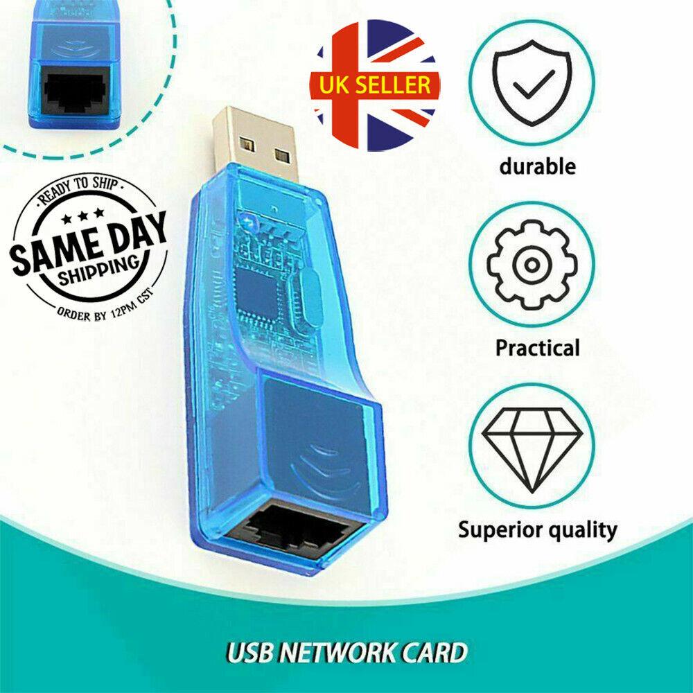 USB 2.0 to Ethernet Adapter RJ45 LAN Internet 10/100Mbps Network Converter Cable