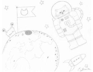 Página Para Colorear Espacio Astronauta Gato Gatos Gatos Gato Dibujo