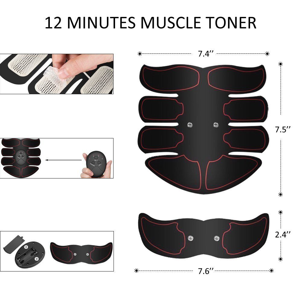 3 Color- ABS Simulator EMS Training Body Abdominal Muscle Exerciser Home Gym Set 6