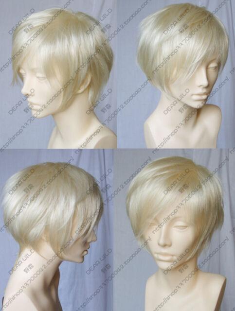 New Short Platinum Blonde Straight Heat Resistant Women Cosplay Full Hair Wig