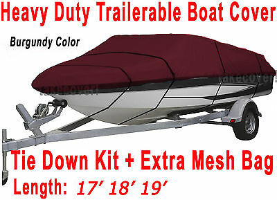Bass Tracker V-nose Trailerable Boat Cover Burgundy Color Y4