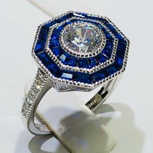 Sterling Argent Lab-Created Bleu /& Blanc Saphir.