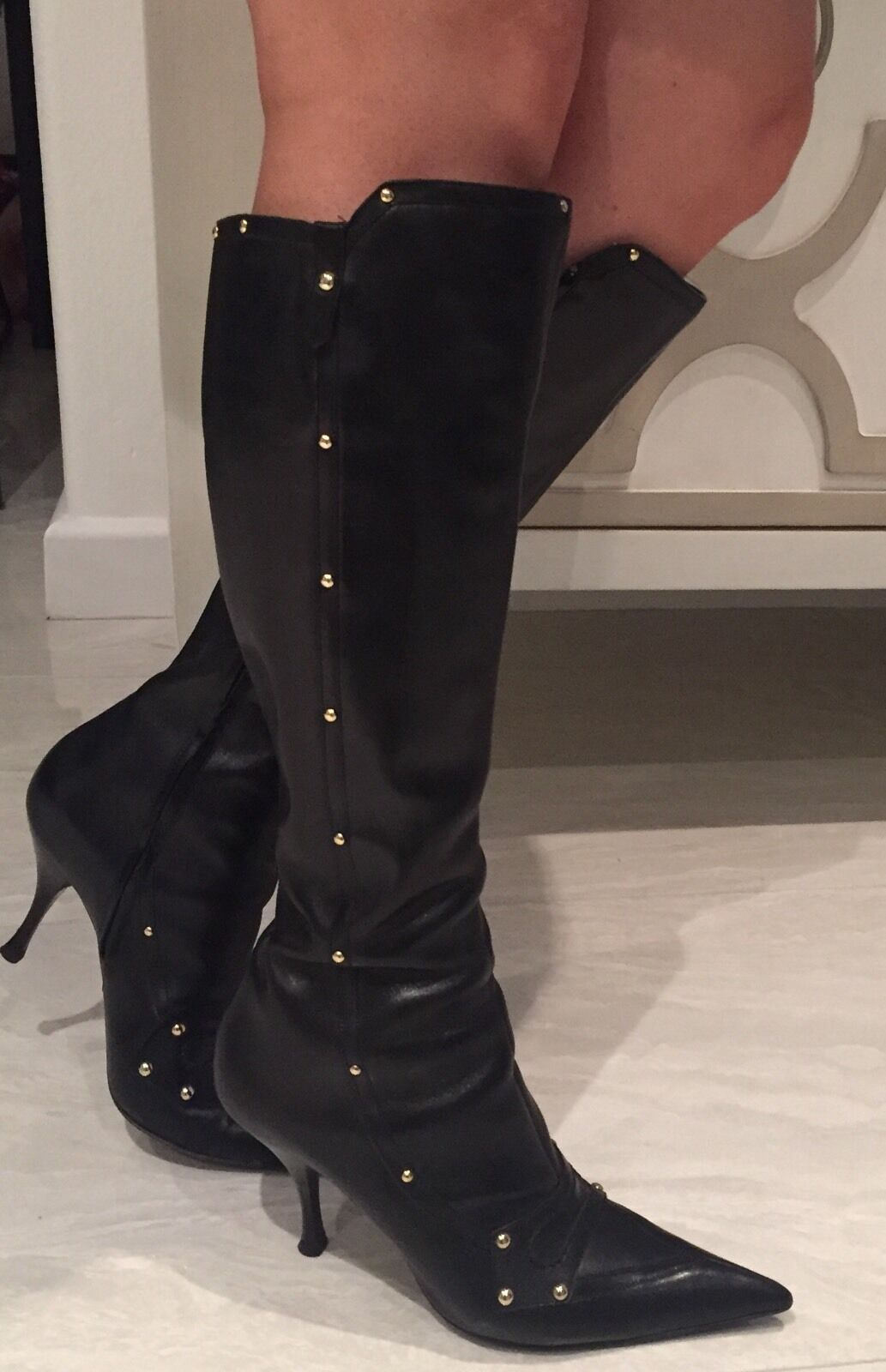 SERGIO ROSSI Black Leather Studded Pointy Pointy Pointy Heel Gorgeous Boots  Sz 38 EUC 21a12d
