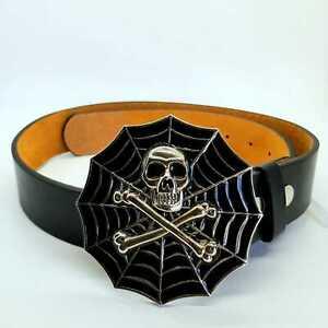 Skull-And-Crossbones-Spider-Web-Belt-Buckle-Gothic-Biker-chrome-feeanddave