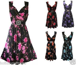 Plus-size-8-26-UK-Ladies-womans-summer-holiday-evening-best-party-dress-flowers