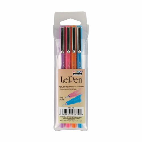 Le Pen Fine 4 Piece Set LePEN Marvy Uchida Markers Assorted Brilliant Colors