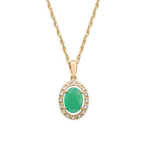 10k-Yellow-Gold-Oval-Emerald-and-Diamond-Halo-Necklace