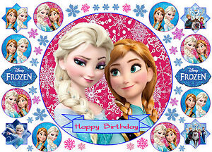 EDIBLE DISNEY FROZEN ELSA ANNA OLAF HAPPY BIRTHDAY CAKE CUPCAKE