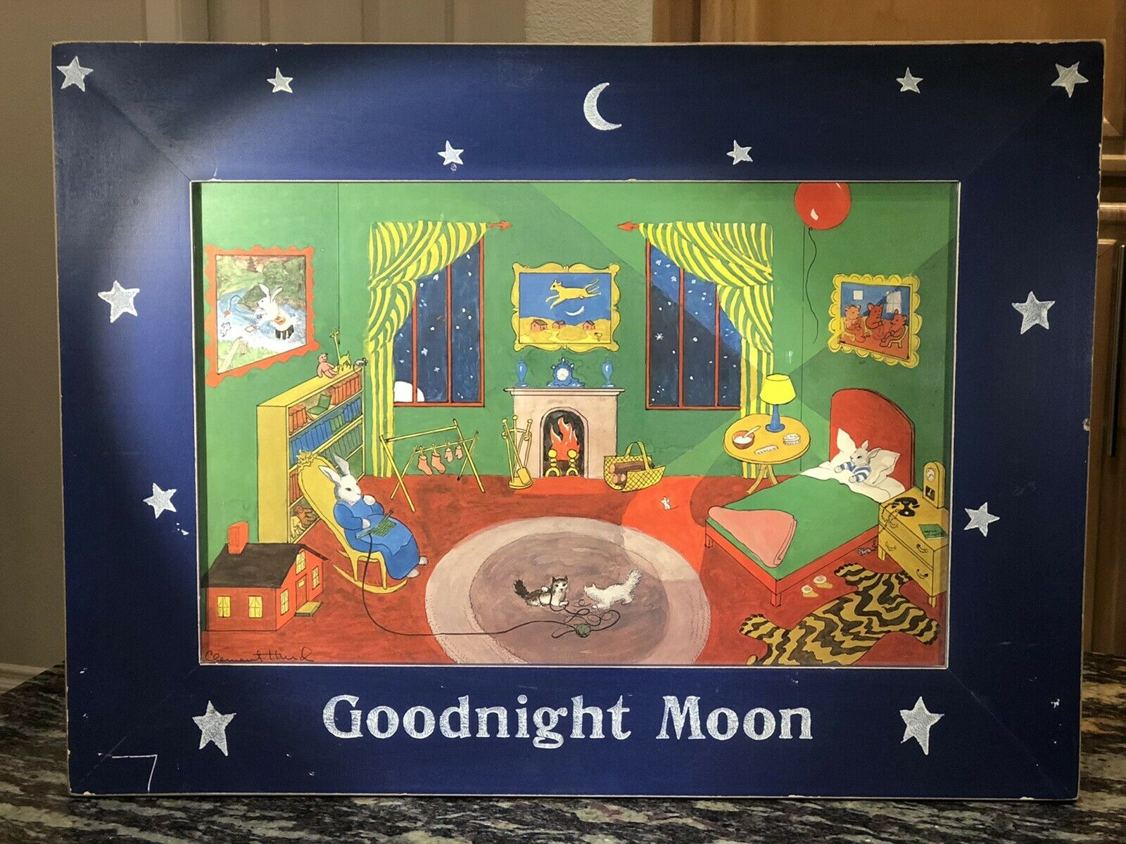 Vintage Goodnight Moon Framed Print by Clement Hurd (1993)  on eBay thumbnail